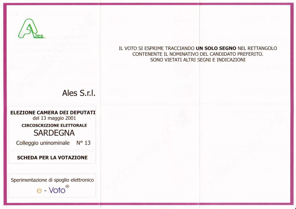 scheda elettorale elezioni 2001