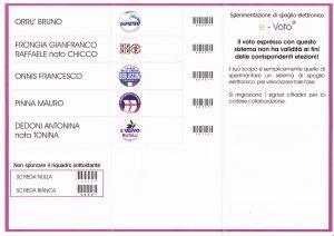Scheda elettorale sperimentazione 2001 - Retro